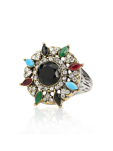 Retro style Double Color Plated Resin stones Crystals Alloy Ring