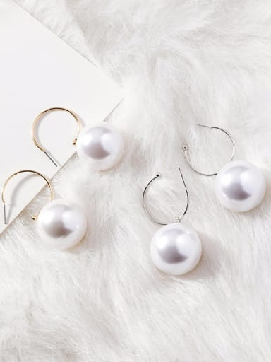Alloy With Gold Plated Trendy Round  Imitation Pearl Hoop Earrings(very big)