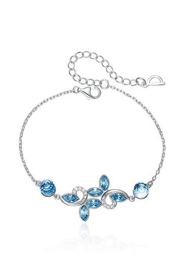 Fashion Little Leaves Blue Swarovski Crystals 925 Silver Bracelet