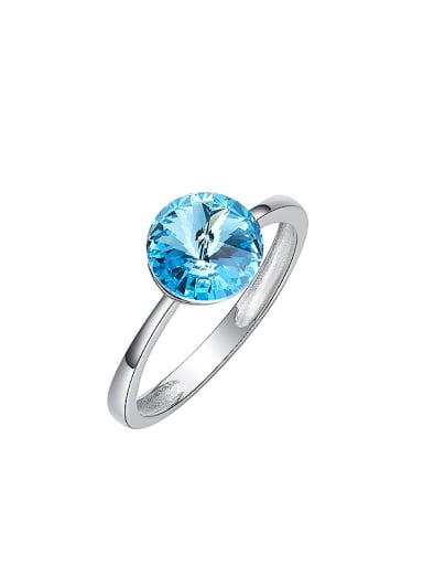Fashion Round Swarovski Crystal Silver Ring
