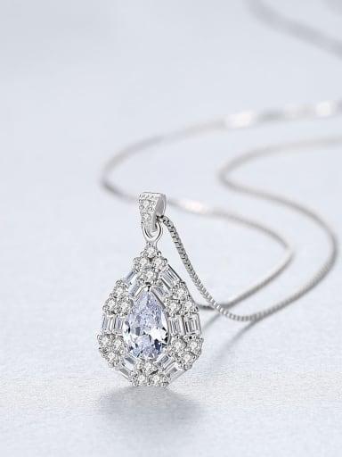 Sterling Silver water drop design 3A Zircon Necklace