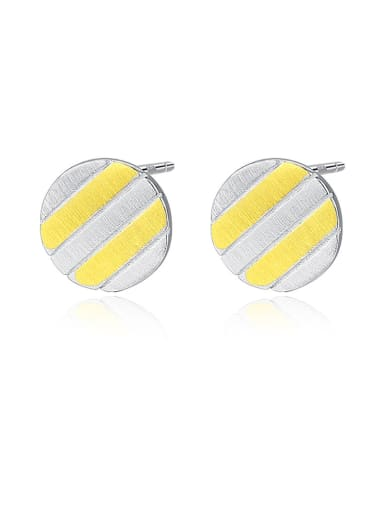 925 Sterling Silver With Glossy  Plated Simplistic Round Stud Earrings