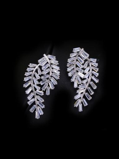 Leaves-shape Shining Zircons Cluster earring