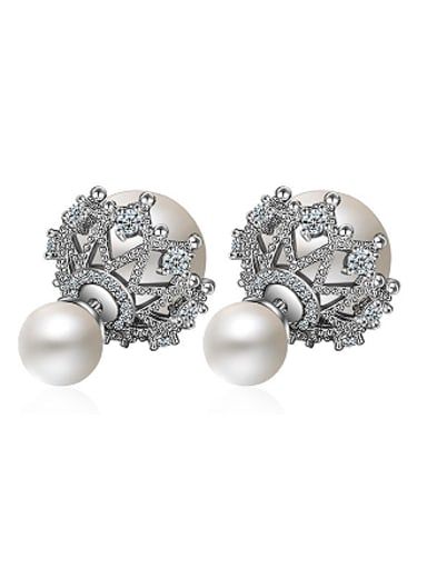 Personalized Double Imitation Pearls Cubic Zirconias Stud Earrings