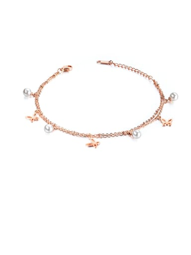 Stainless Steel With Rose Gold Plated Cute Butterfly Anklets