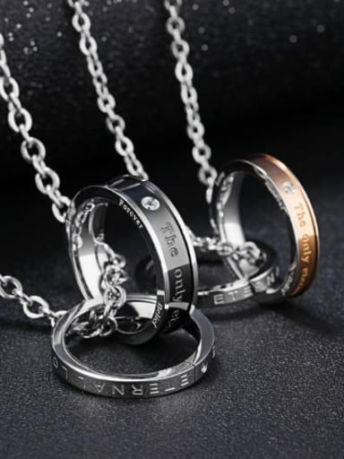 Fashion Double Rings Pendant Titanium Necklace
