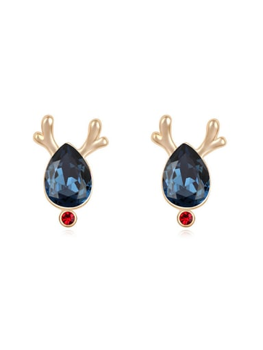 Fashion Water Drop Swarovski Crystal Deer Horn Stud Earrings