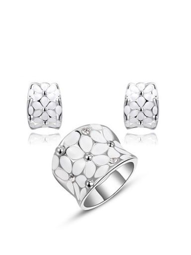 Alloy Platinum Plated Geometric Shaped Austria Crystal Two Pieces Jewelry