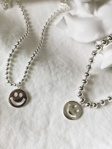 Sterling silver smiling face  transfer beads  bracelet