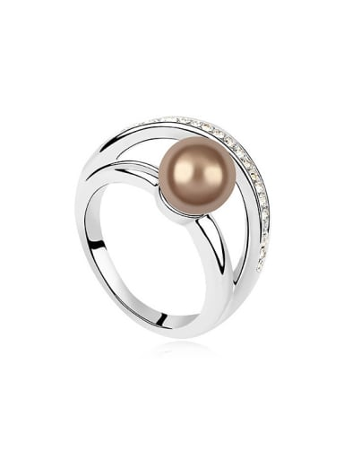 Simple Imitation Pearl Shiny Crystals Alloy Ring