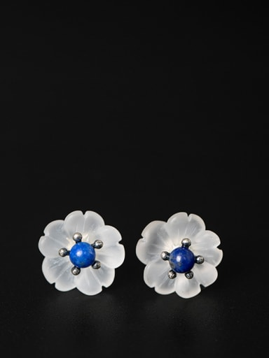Natural Crystal Plum Blossom stud Earring