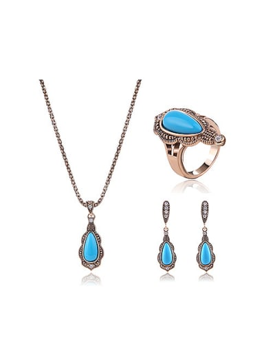Alloy Antique Gold Plated Fashion Water Drop shaped Artificial Stones Three Pieces Jewelry Set
