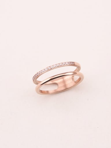 Double Lines Zircons Fashion Ring