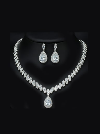 Noble AAA Zircon Two Pieces Jewelry Set