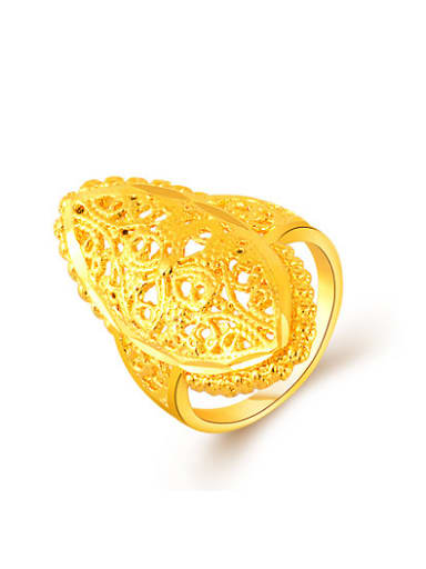 Exquisite 24K Gold Plated Oval Shaped Copper Ring