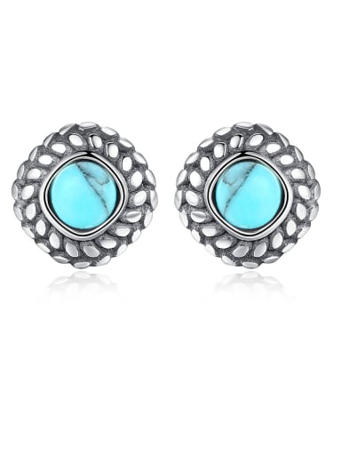 925 Sterling Silver With Turquoise Vintage Square Stud Earrings