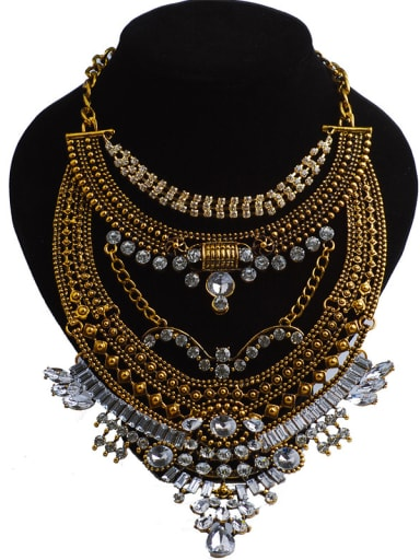 Exaggerated White Stones-covered Alloy Necklace
