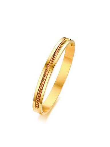 Women Gold Plated Geometric Shaped Titanium Bangle