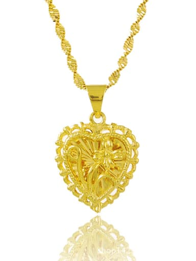 Delicate 24K Gold Plated Heart Shaped Rhinestone Necklace