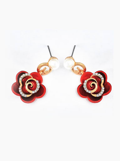 Fashion Red Flower Cubic Rhinestones Imitation Pearl Copper Stud Earrings