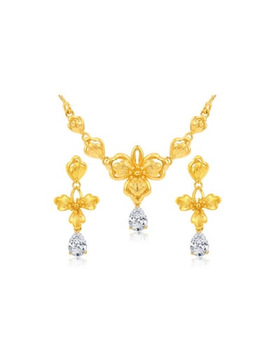 Copper Alloy 24K Gold Plated Retro style Flower Zircon Two Pieces Jewelry Set
