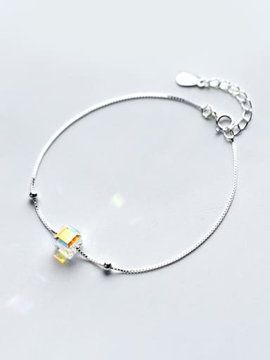 Temperament Square Shaped Crystal S925 Silver Bracelet