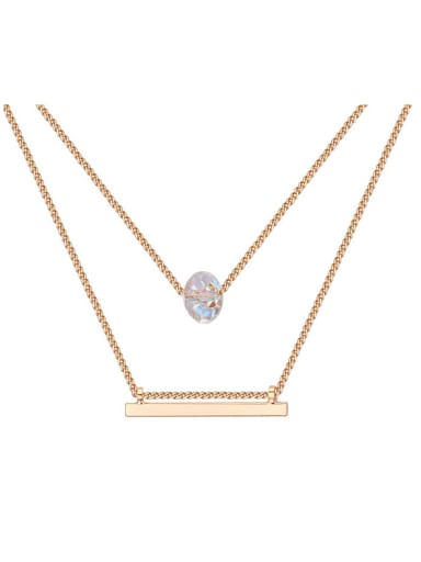 Simple Double Layer White Swarovski Crystal Bead Alloy Necklace