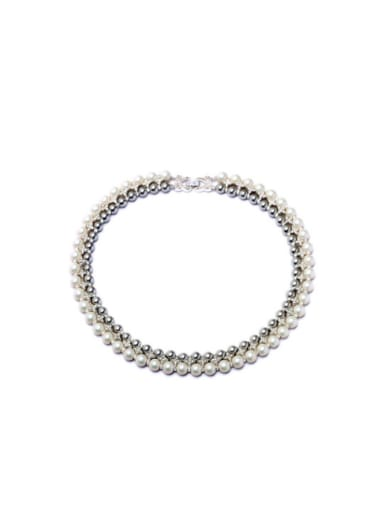 Simple Double Layer Artificial Pearl Short Alloy Necklace