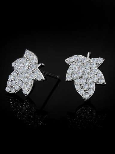Fashion Cubic Zirconias-covered Maple Leaf 925 Sterling Silver Stud Earring