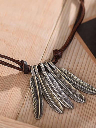 Couples Adjustable Feather Shaped Necklace