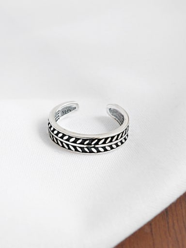 Pure silver retro olive leaf free size ring