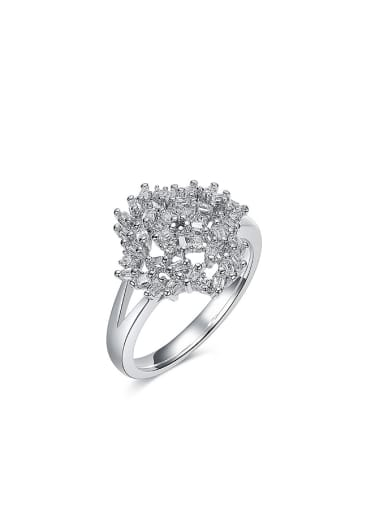 Exaggerated Zircon Platinum Plated Women Ring