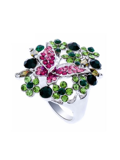 Fashion Colorful Rhinestones Butterfly Flowers Alloy Ring
