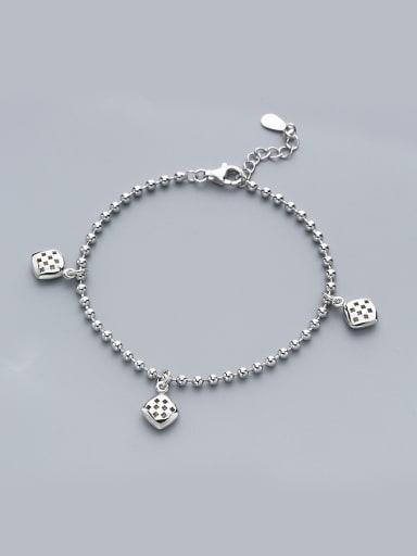 Trendy 925 Silver Square Shaped Bracelet
