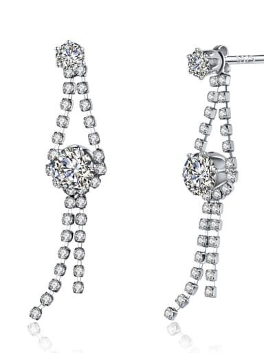 Beautiful Long Fashion White Gold Plated Drop Earrings