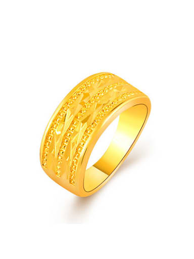 Exquisite 24K Gold Plated Geometric Shaped Copper Ring