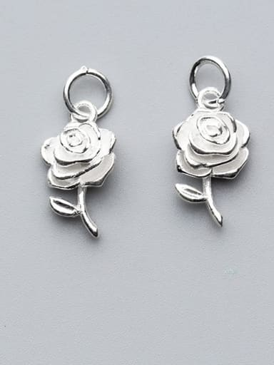 925 Sterling Silver With Silver Plated Trendy Flower Charms