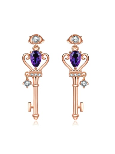 Natural Amethyst Key-shape Classical Drop Earrings