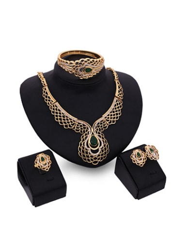Alloy Imitation-gold Plated Vintage style Stone Lace-shaped Four Pieces Jewelry Set