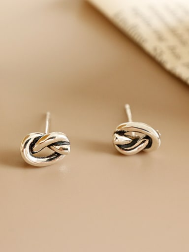 925 Sterling Silver With Antique Silver knot Irregular Stud Earrings