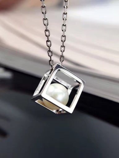 Freshwater Pearl Hollow Cube Necklace