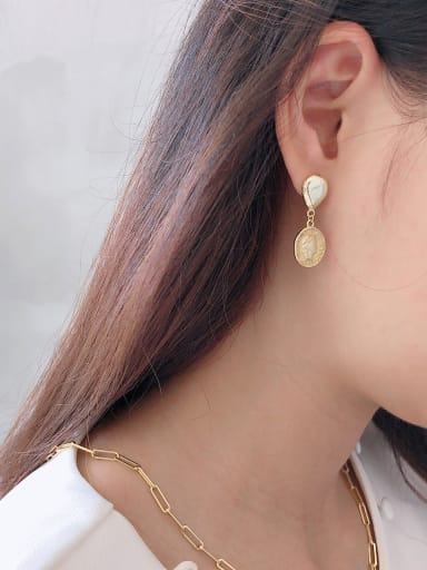 925 Sterling Silver With Gold Plated Fashion Oval Drop Earrings