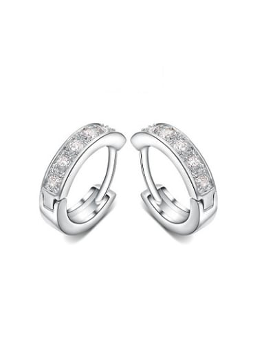Exquisite Round Shaped AAA Zircon Clip On Earrings