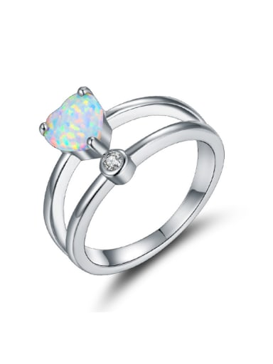 Heart Shaped Blue Opal White Gold Plated Ring