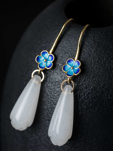 Retro style White Jade Flower 925 Silver Earrings