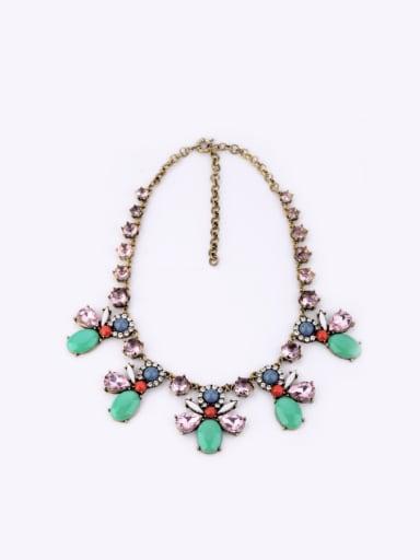 Alloy Retro Flower Artificial Stoens Necklace
