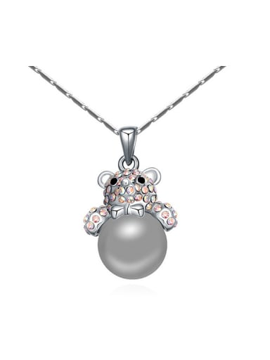Fashion Tiny Crystals-covered Bear Imitation Pearl Alloy Necklace