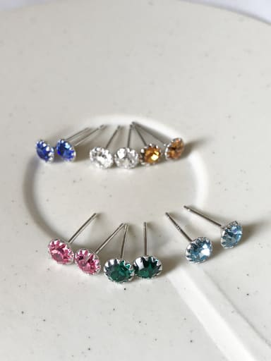 Sterling silver color birthstone earrings