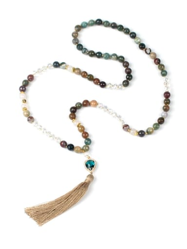 Natural Agate Crystal Beaded Tassel Pendant Necklace