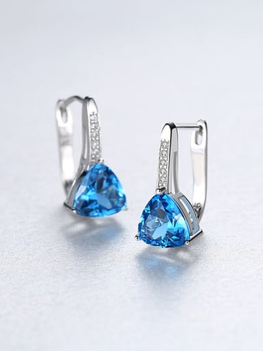 925 Sterling Silver With Silver Plated Fashion Triangle Stud Earrings